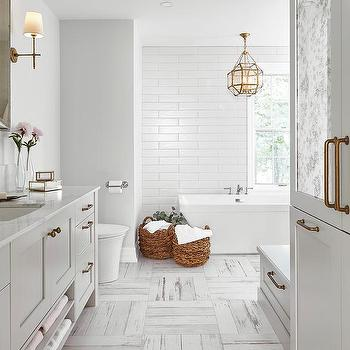 white and gray distressed bathroom