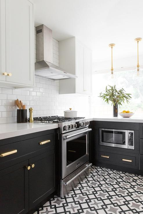 Black and Gray Cle cement TIles  Transitional  Kitchen