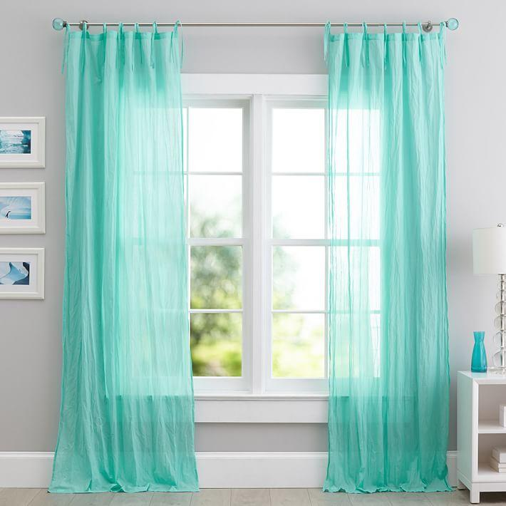 Faux Silk Signature Teal Curtain Panel