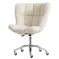 Blue Leather Office Chair Bedroom Decor Ivory Sherpa Airgo - Pbteen
