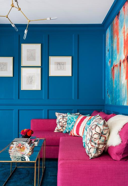 wainscoting ideas for living room mocha color paint orange and blue design