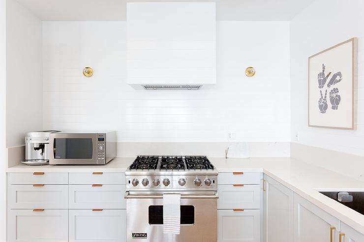 wallpaper kitchen backsplash rustic island lighting leather tab pulls on light gray cabinets - transitional ...