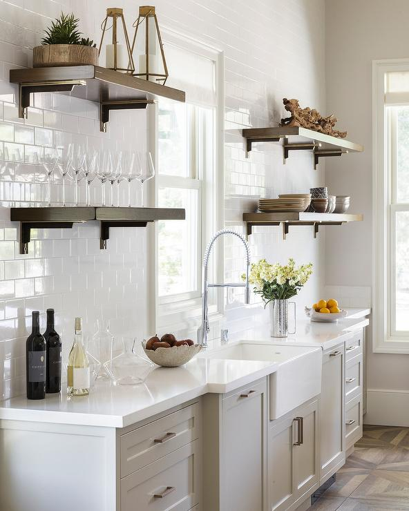 wood shelves kitchen mosaic tiles brown with brackets transitional