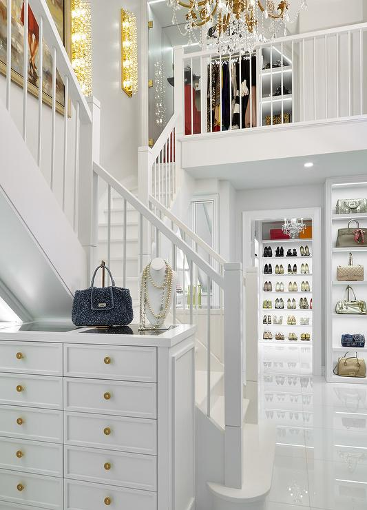 Walk In Closet with Spiral Staircase  Contemporary  Closet