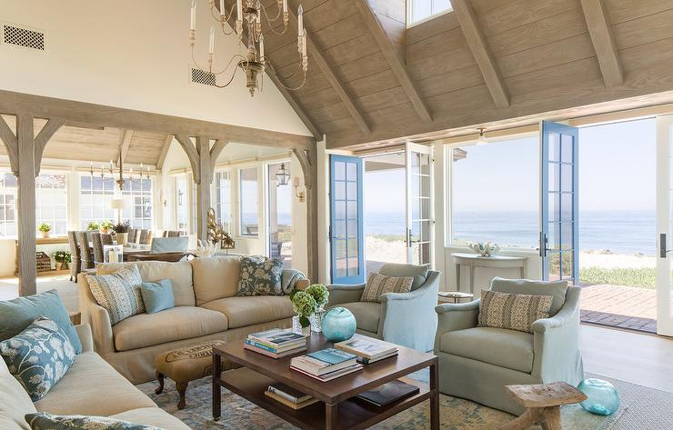 Beige Sofa with Blue Chairs  Cottage  Living Room