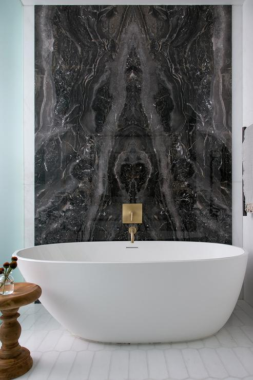 Black Marble Bookmatched Bathtub Wall  Contemporary
