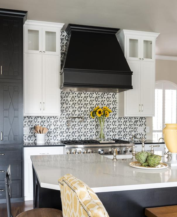 White Upper Cabinets Black Lower Cabinets  Contemporary  Kitchen