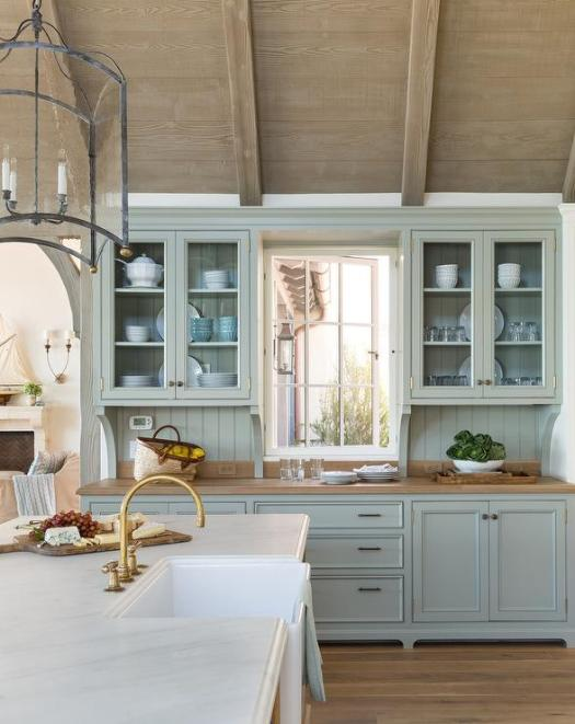 Blue Cottage Kitchen Cabinets With Wood Countertop