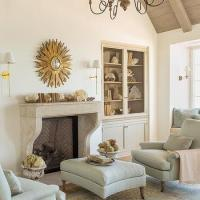 Home Library with Marble Fireplace - Transitional - Den ...