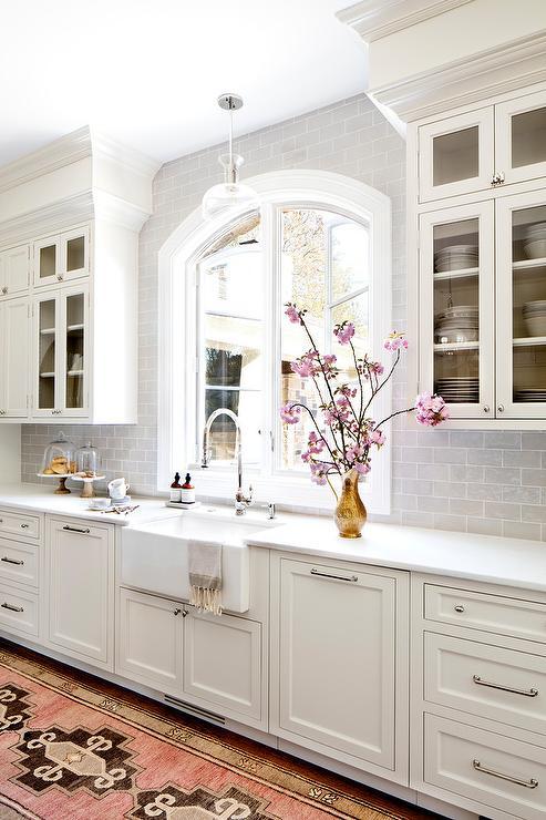 Pink and Brown Vintage Kitchen Runner  Transitional  Kitchen