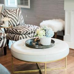 White Leather Slipper Chair Global Upholstery Black And Zebra Chairs With Round Tufted Ottoman
