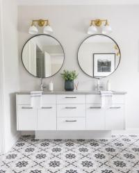 Shiplap Bathroom Wall with Stained Wood Dual Washstand ...