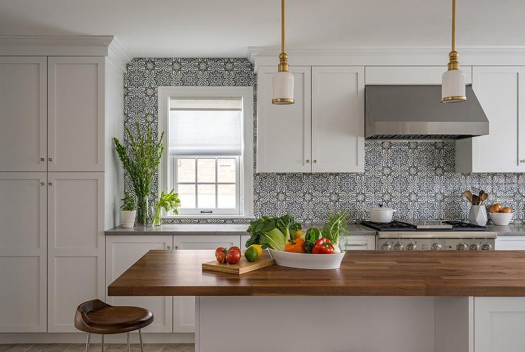3d Wallpaper Subway Tile White White And Blue Mosaic Moroccan Tiles Transitional Kitchen