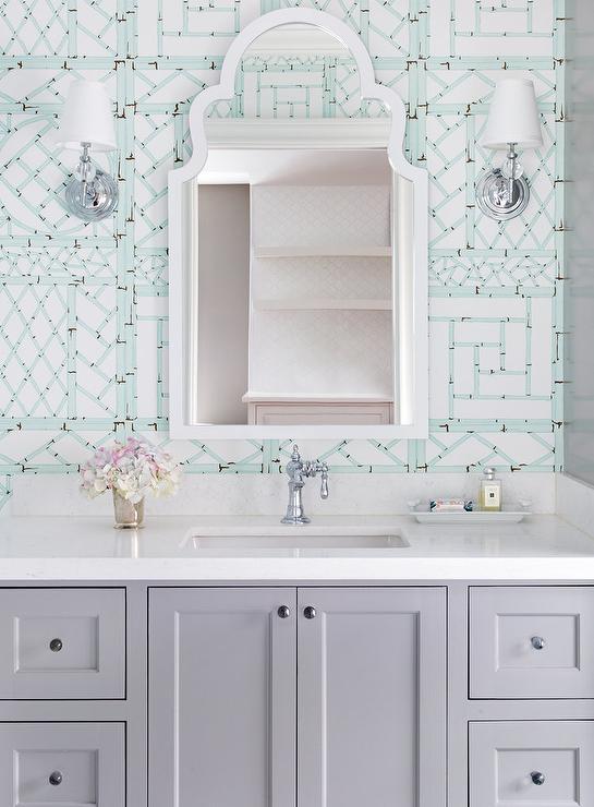 Pale Blue Trellis Wallpaper With Light Gray Bath Vanity Transitional Bathroom