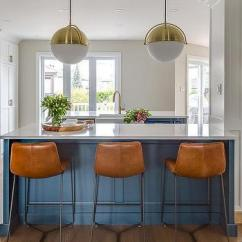 Island Stools For Kitchen Maytag Appliances Orange Leather Bar At Blue Transitional With White Glass And Brass Globe Lights