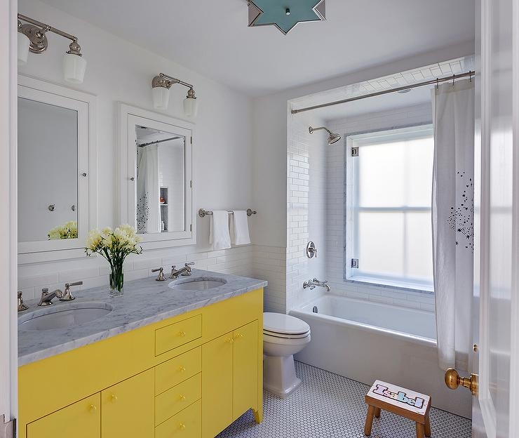 Neon Yellow Dual Washstand With Carrera Marble Contemporary Bathroom