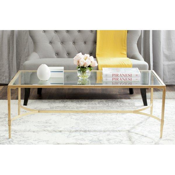 boville glass top brass coffee table