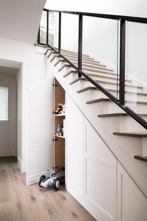 Under Staircase Storage Modern Entrance Foyer | Modern Under Stairs Storage | Hallway Understairs Storage | Grey | Home Stair | Bajo | Minimal