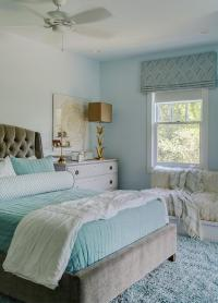Gray and Aqua Blue Bedroom Colors - Transitional - Girl's Room