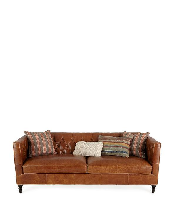 tufted brown leather sofa macy s radley bed kyrie