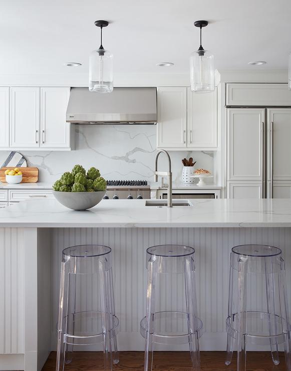 kitchen prep sink blown glass pendant lighting for light gray beadboard center island with casper barstools ...