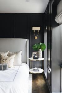 Black Walls with Black Trim Moldings and Light Gray ...