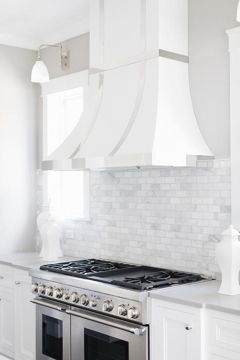 White and Gray Marble Criss Cross Tiles  Cottage  Kitchen