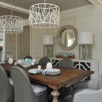 Light Wood Trestle Dining Table with Linen Slipcovered