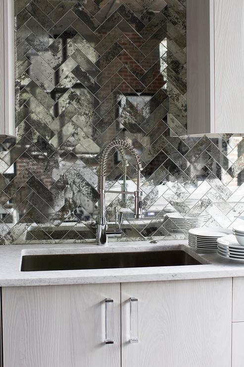 Gray Herringbone Backsplash Transitional Kitchen