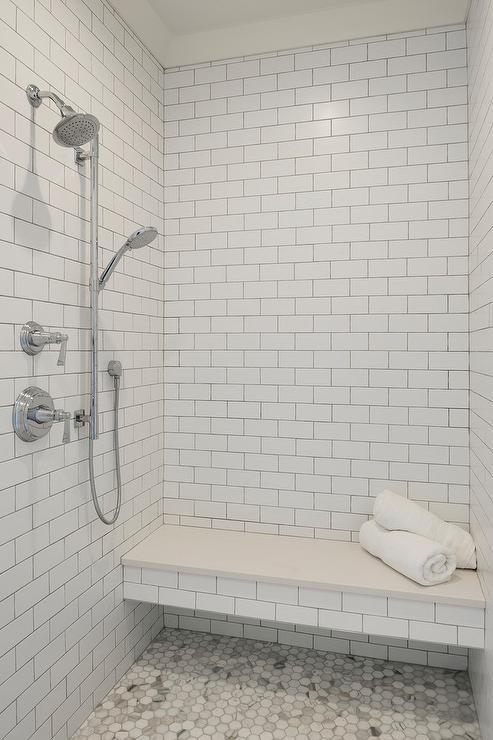 quartz and subway tiles on shower bench