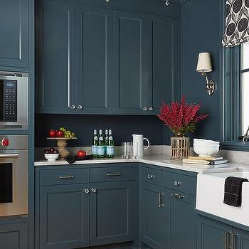 navy blue painted kitchen cabinets Black and White Roman Shade - Transitional - Kitchen