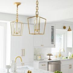 Gray Cabinets Kitchen Fire Suppression System Brass Mini Lanterns Over Marble Top Island - Transitional ...