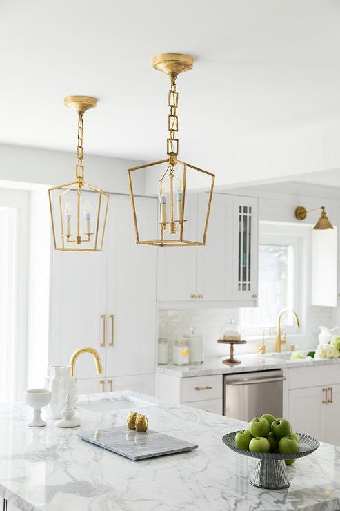 kitchen sink rugs appliances for sale brass mini lanterns over marble top island - transitional ...