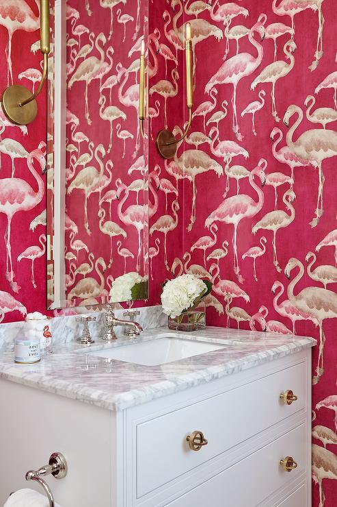 Hot Pink Flamingo Pattern Wallpaper Contemporary Bathroom