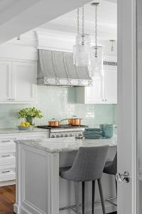 Gray and Aqua Kitchen Accent Colors - Transitional - Kitchen
