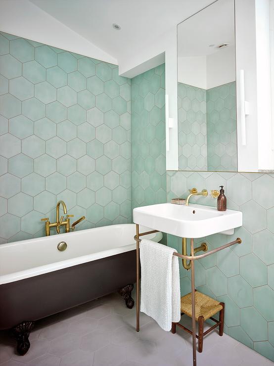 Green Hexagon Tiles with Black Clawfoot Bathtub
