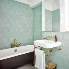 Living Rooms Tables Cheap Furniture Sets Room Green Hexagon Tiles With Black Clawfoot Bathtub ...