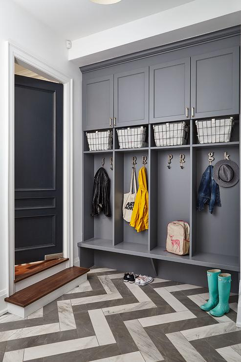 Charcoal Gray Mudroom Lockers with Rugby Stripe Bins