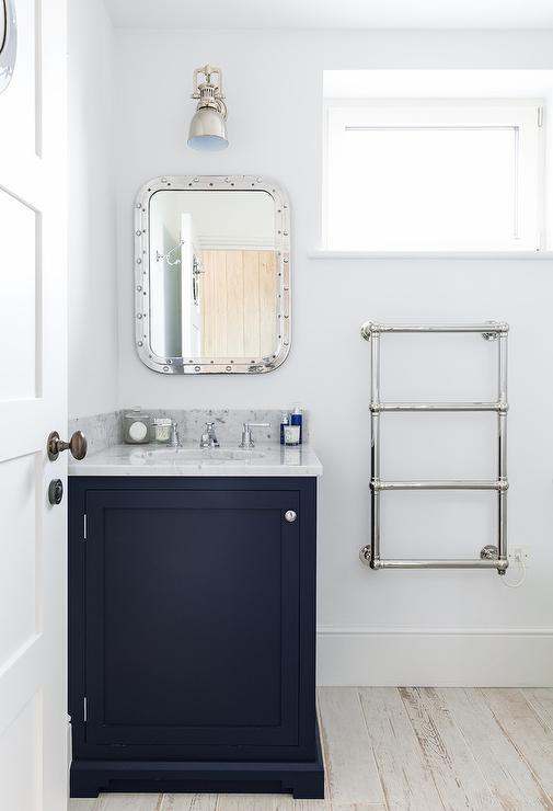 Navy Washstand with Carrera Marble Countertop  Transitional  Bathroom  Benjamin Moore Hale Navy