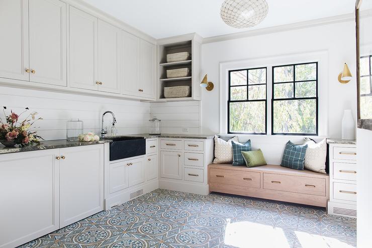 black soapstone apron laundry room sink