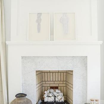 light gray marble fireplace tiles