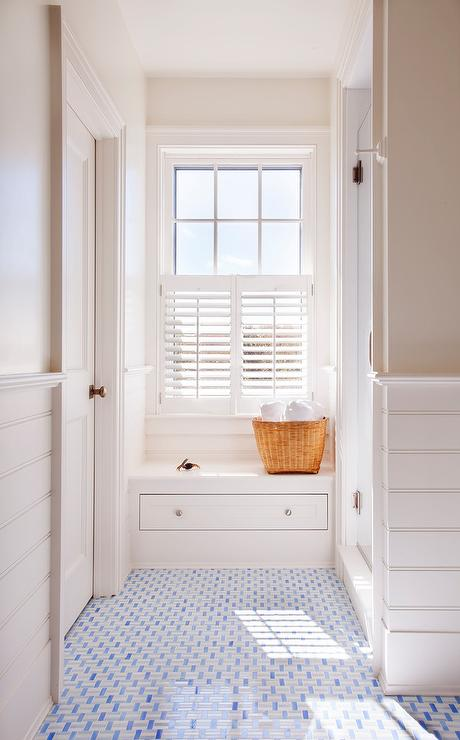 White and Blue Mosaic Bath Floor Tiles  Transitional