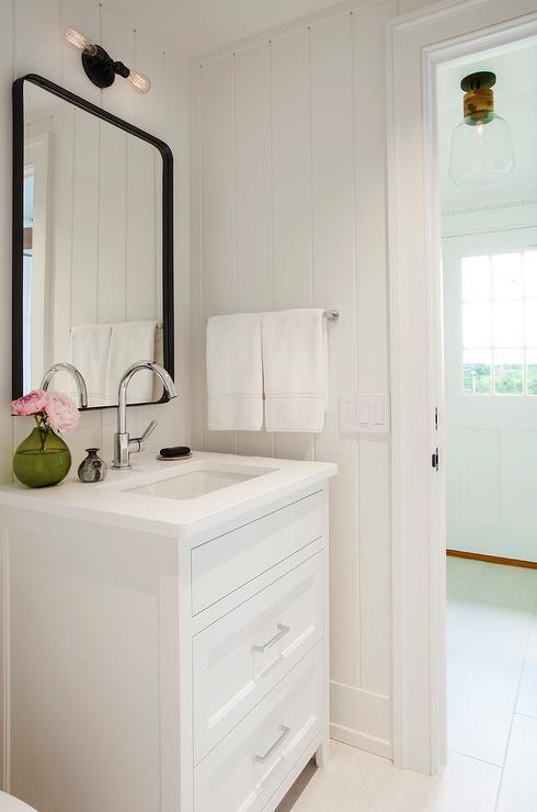Black Metal Curved Mirror with White Bath Vanity  Transitional  Bathroom