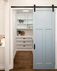 Blue Paneled Pantry Barn Door on Rails - Transitional ...