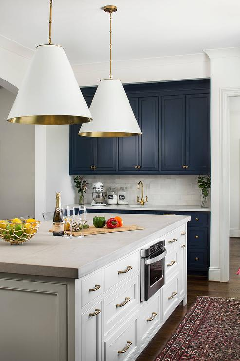 gold kitchen faucet cabinet cleaner recipe green cabinets with brass and concrete pendant lights ...