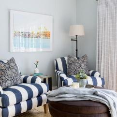 Blue And White Striped Accent Chair Spindle Back Navy Roll Arm Chairs With Iron Floor Lamp