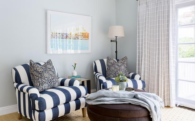 blue and white striped chair la z boy office replacement parts navy roll arm chairs with iron floor lamp