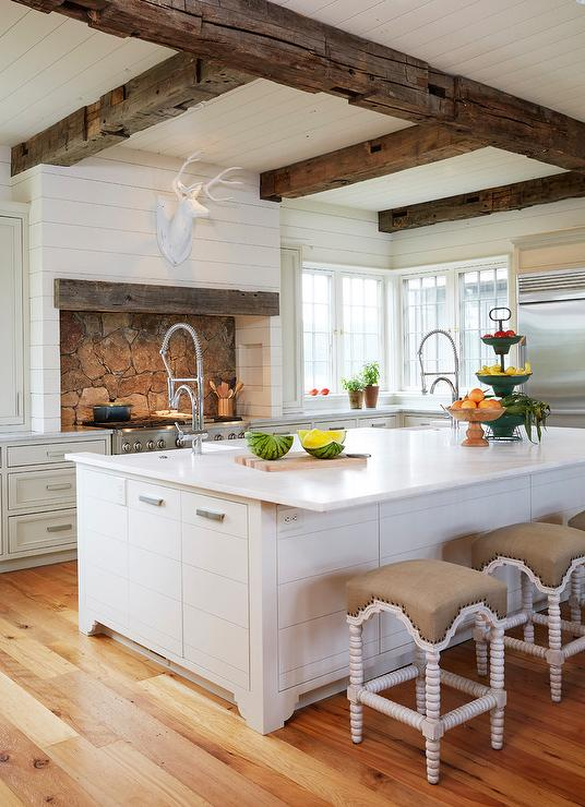 large kitchen island with seating and storage renovation ideas country rustic wood ceiling beams - ...