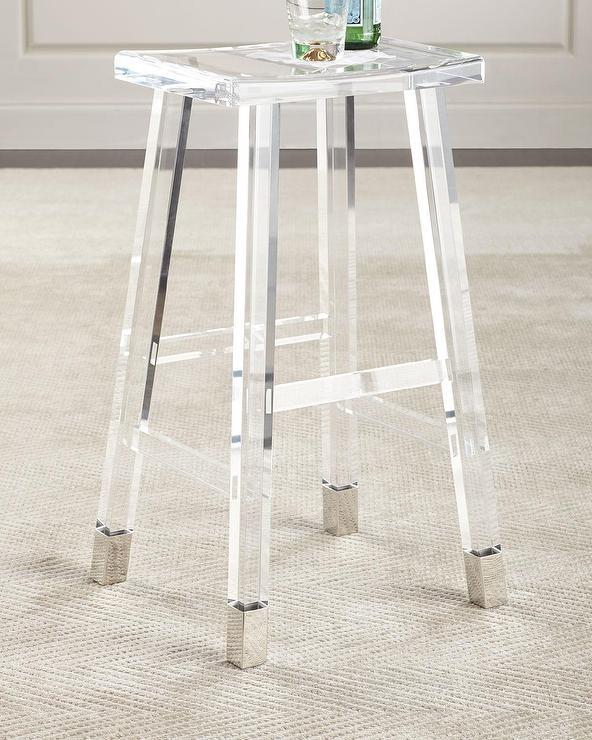 Gabby Furniture Johnson Clear Acrylic Gold Base Bar Stool