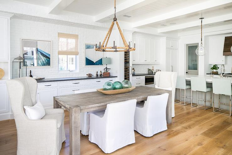 Gray Dining Table with White Dining Chairs